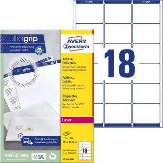 Avery Zweckform No. L7161-100 lézeres 63,5 x 46,6 mm méretű, fehér öntapadó etikett címke A4-es íven - 1800 címke / doboz - 100 ív / doboz (Avery L7161-100)