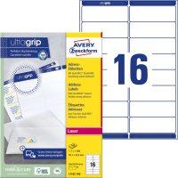 Avery Zweckform No. L7162-100 lézeres 99,1 x 33,9 mm méretű, fehér öntapadó etikett címke A4-es íven - 1600 címke / doboz - 100 ív / doboz (Avery L7162-100)