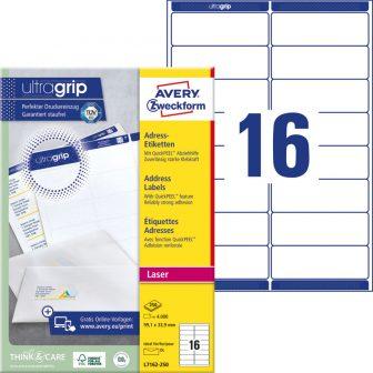 Avery Zweckform No. L7162-250 lézeres 99,1 x 33,9 mm méretű, fehér öntapadó etikett címke A4-es íven - 4000 címke / doboz - 250 ív / doboz (Avery L7162-250)