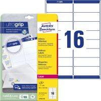 Avery Zweckform No. L7162-40 lézeres 99,1 x 33,9 mm méretű, fehér öntapadó etikett címke A4-es íven - 640 címke / csomag - 40 ív / csomag (Avery L7162-40)