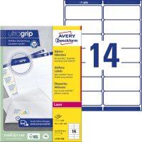 Avery Zweckform No. L7163-100 lézeres 99,1 x 38,1 mm méretű, fehér öntapadó etikett címke A4-es íven - 1400 címke / doboz - 100 ív / doboz (Avery L7163-100)