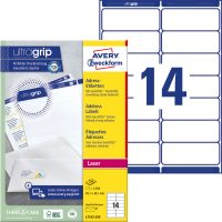 Avery Zweckform No. L7163-250 lézeres 99,1 x 38,1 mm méretű, fehér öntapadó etikett címke A4-es íven - 3500 címke / doboz - 250 ív / doboz (Avery L7163-250)