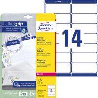 Avery Zweckform No. L7163-40 lézeres 99,1 x 38,1 mm méretű, fehér öntapadó etikett címke A4-es íven - 560 címke / csomag - 40 ív / csomag (Avery L7163-40)