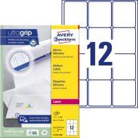 Avery Zweckform No. L7164-100 lézeres 63,5 x 72 mm méretű, fehér öntapadó etikett címke A4-es íven - 1200 címke / doboz - 100 ív / doboz (Avery L7164-100)