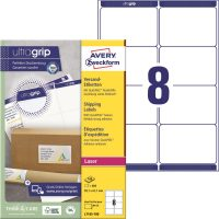 Avery Zweckform No. L7165-100 lézeres 99,1 x 67,7 mm méretű, fehér öntapadó etikett címke A4-es íven - 800 címke / doboz - 100 ív / doboz (Avery L7165-100)