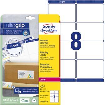 Avery Zweckform No. L7165-40 lézeres 99,1 x 67,7 mm méretű, fehér öntapadó etikett címke A4-es íven - 320 címke / csomag - 40 ív / csomag (Avery L7165-40)