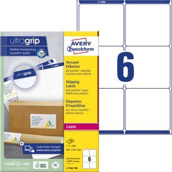 Avery Zweckform No. L7166-100 lézeres 99,1 x 93,1 mm méretű, fehér öntapadó etikett címke A4-es íven - 600 címke / doboz - 100 ív / doboz (Avery L7166-100)