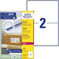 Avery Zweckform No. L7168-100 lézeres 199,6 x 143,5 mm méretű, fehér öntapadó etikett címke A4-es íven - 200 címke / doboz - 100 ív / doboz (Avery L7168-100)