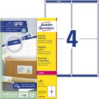 Avery Zweckform No. L7169-100 lézeres 99,1 x 139 mm méretű, fehér öntapadó etikett címke A4-es íven - 400 címke / doboz - 100 ív / doboz (Avery L7169-100)