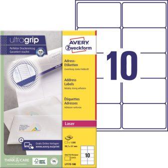 Avery Zweckform No. L7173-100 lézeres 99,1 x 57 mm méretű, fehér öntapadó etikett címke A4-es íven - 1000 címke / doboz - 100 ív / doboz (Avery L7173-100)