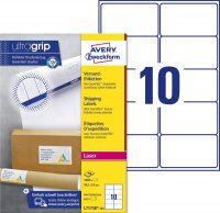Avery Zweckform No. L7173B-100 lézeres 99,1 x 57 mm méretű, fehér öntapadó etikett címke A4-es íven - 1000 címke / doboz - 100 ív / doboz (Avery L7173B-100)