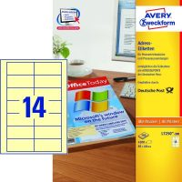 Avery Zweckform No. L7250-300 univerzális 85 x 40 mm méretű, sárga színű öntapadó etikett címke A4-es íven - 4200 címke / doboz - 300 ív / doboz (Avery L7250-300)