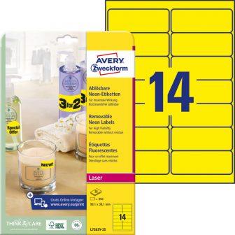 Avery Zweckform No. L7263Y-25 lézeres 99,1 x 38,1 mm méretű visszaszedhető, neon sárga öntapadó etikett címke A4-es íven - 350 címke / csomag - 25 ív / csomag (Avery L7263Y-25)