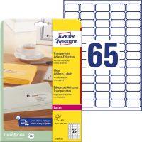 Avery Zweckform No. L7551-25 lézeres 38,1 x 21,2 mm méretű, átlátszó öntapadó etikett címke A4-es íven - 1625 címke / csomag - 25 ív / csomag (Avery L7551-25)