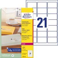 Avery Zweckform No. L7560-25 lézeres 63,5 x 38,1 mm méretű, átlátszó öntapadó etikett címke A4-es íven - 525 címke / csomag - 25 ív / csomag (Avery L7560-25)