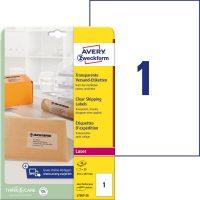 Avery Zweckform No. L7567-25 lézeres 210 x 297 mm méretű, átlátszó öntapadó etikett címke A4-es íven - 25 címke / csomag - 25 ív / csomag (Avery L7567-25)