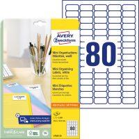 Avery Zweckform No. L7632-25 univerzális 35,6 x 16,9 mm méretű, fehér öntapadó etikett címke A4-es íven - 2000 címke / csomag - 25 ív / csomag (Avery L7632-25)