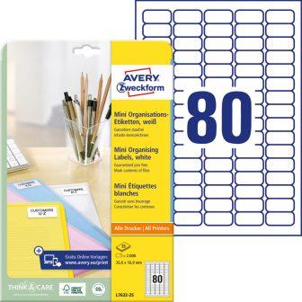 Avery Zweckform L7632-25 nyomtatható öntapadós mini rendszerező címke