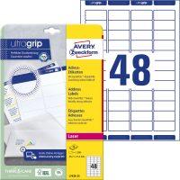 Avery Zweckform No. L7636-25 lézeres 45,7 x 21,2 mm méretű, fehér öntapadó etikett címke A4-es íven - 1200 címke / csomag - 25 ív / csomag (Avery L7636-25)