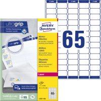 Avery Zweckform No. L7651-100 lézeres 38,1 x 21,2 mm méretű, fehér öntapadó etikett címke A4-es íven - 6500 címke / doboz - 100 ív / doboz (Avery L7651-100)