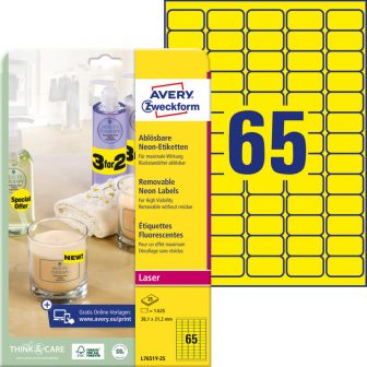 Avery Zweckform No. L7651Y-25 lézeres 38,1 x 21,2 mm méretű visszaszedhető, neon sárga öntapadó etikett címke A4-es íven - 1625 címke / csomag - 25 ív / csomag (Avery L7651Y-25)