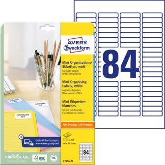 Avery Zweckform No. L7656-25 univerzális 46 x 11,1 mm méretű, fehér öntapadó etikett címke A4-es íven - 2100 címke / csomag - 25 ív / csomag (Avery L7656-25)