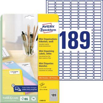 Avery Zweckform L7658-25 nyomtatható öntapadós mini rendszerező címke