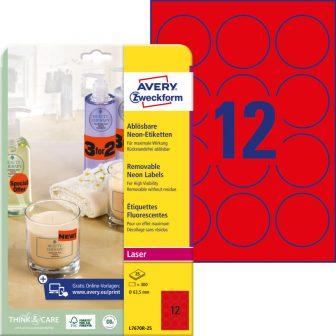 Avery Zweckform No. L7670R-25 lézeres 63,5 mm átmérőjű, neon piros, kör alakú visszaszedhető öntapadó termékcímke A4-es íven - 300 címke / csomag - 25 ív / csomag (Avery L7670R-25)