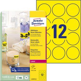 Avery Zweckform No. L7670Y-25 lézeres 63,5 mm átmérőjű, neon sárga, kör alakú visszaszedhető öntapadó termékcímke A4-es íven - 300 címke / csomag - 25 ív / csomag (Avery L7670Y-25)