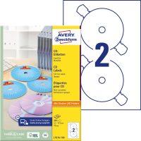 Avery Zweckform No. L7676-100 univerzális 117 mm átmérőjű, fehér öntapadó CD címke A4-es íven - 200 címke / doboz - 100 ív / doboz (Avery L7676-100)