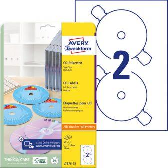 Avery Zweckform L7676-25 SuperSize nyomtatható öntapadós CD címke