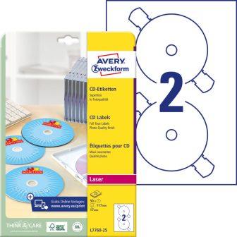 Avery Zweckform No. L7760-25 lézeres 117 mm átmérőjű, fehér, fényes felületű öntapadó CD címke A4-es íven - 50 címke / csomag - 25 ív / csomag (Avery L7760-25)