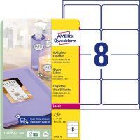 Avery Zweckform No. L7765-40 lézeres 99,1 x 67,7 mm méretű, fehér, fényes felületű, fotóminőségű termékcímke A4-es íven - 320 címke / csomag - 40 ív / csomag (Avery L7765-40)