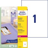 Avery Zweckform No. L7767-40 lézeres 210 x 297 mm méretű, fehér, fényes felületű, fotóminőségű termékcímke A4-es íven - 40 címke / csomag - 40 ív / csomag (Avery L7767-40)