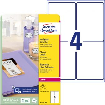 Avery Zweckform No. L7769-40 lézeres 99,1 x 139 mm méretű, fehér, fényes felületű, fotóminőségű termékcímke A4-es íven - 160 címke / csomag - 40 ív / csomag (Avery L7769-40)