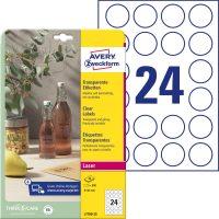 Avery Zweckform No. L7780-25 lézeres 40 mm átmérőjű, víztiszta, átlátszó öntapadó etikett címke A4-es íven - 600 címke / csomag - 25 ív / csomag (Avery L7780-25)