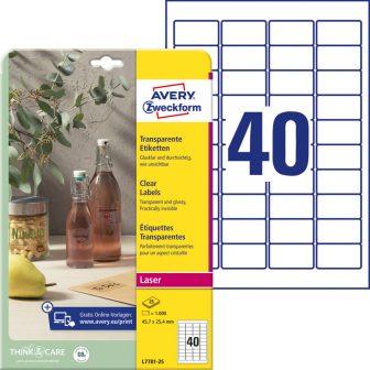Avery Zweckform No. L7781-25 lézeres 45,7 x 25,4 mm méretű, víztiszta, átlátszó öntapadó etikett címke A4-es íven - 1000 címke / csomag - 25 ív / csomag (Avery L7781-25)