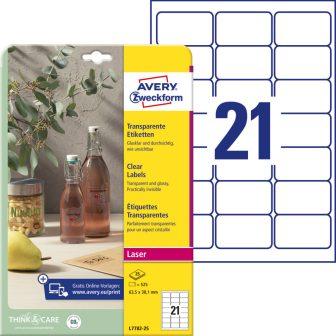 Avery Zweckform No. L7782-25 lézeres 63,5 x 38,1 mm méretű, víztiszta, átlátszó öntapadó etikett címke A4-es íven - 525 címke / csomag - 25 ív / csomag (Avery L7782-25)