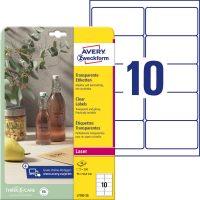 Avery Zweckform No. L7783-25 lézeres 96 x 50,8 mm méretű, víztiszta, átlátszó öntapadó etikett címke A4-es íven - 250 címke / csomag - 25 ív / csomag (Avery L7783-25)