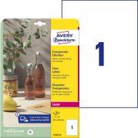Avery Zweckform No. L7784-25 lézeres 210 x 297 mm méretű, víztiszta, átlátszó öntapadó etikett címke A4-es íven - 25 címke / csomag - 25 ív / csomag (Avery L7784-25)