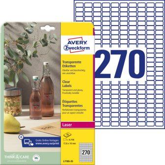 Avery Zweckform L7785-25 nyomtatható öntapadós víztiszta átlátszó termék címke
