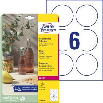Avery Zweckform L7788-25 nyomtatható öntapadós víztiszta átlátszó termék címke