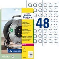 Avery Zweckform No. L7803-10 fehér színű, 20 mm átmérőjű, lézernyomtatóval nyomtatható, öntapadós felülvizsgálati címke visszaszedhető ragasztóval A4-es íven - kiszerelés: 480 címke / csomag