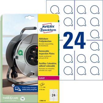 Avery Zweckform No. L7804-10 fehér színű, 30 mm átmérőjű, lézernyomtatóval nyomtatható, öntapadós felülvizsgálati címke visszaszedhető ragasztóval A4-es íven - kiszerelés: 240 címke / csomag