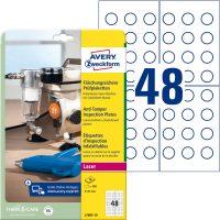 Avery Zweckform No. L7805-10 fehér színű, 20 mm átmérőjű, lézernyomtatóval nyomtatható, biztonsági öntapadó felülvizsgálati címke A4-es íven - kiszerelés: 480 címke / csomag (Avery L7805-10)