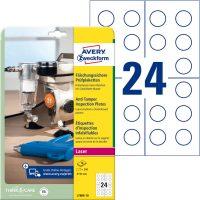 Avery Zweckform No. L7806-10 fehér színű, 30 mm átmérőjű, lézernyomtatóval nyomtatható, biztonsági öntapadó felülvizsgálati címke A4-es íven - kiszerelés: 240 címke / csomag (Avery L7806-10)