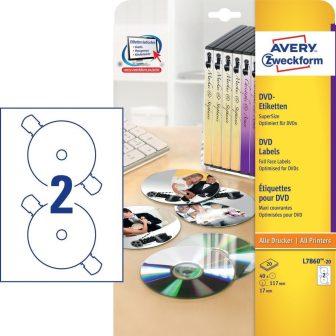 Avery Zweckform No. L7860-20 univerzális 117 mm átmérőjű, fehér öntapadó DVD címke biztonsági perforációval A4-es íven - 40 címke / csomag - 20 ív / csomag (Avery L7860-20)