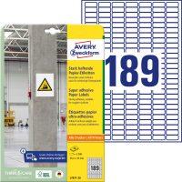 Avery Zweckform No. L7871-20 univerzális 25,4 x 10 mm méretű, fehér öntapadó etikett címke extra erős ragasztóval A4-es íven - 3780 címke / csomag - 20 ív / csomag (Avery L7871-20)