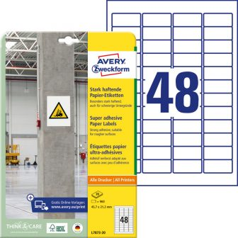 Avery Zweckform L7873-20 erősebben tapadó nyomtatható öntapadós etikett címke
