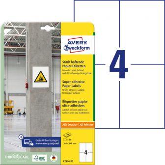 Avery Zweckform No. L7876-20 univerzális 105 x 148 mm méretű, fehér öntapadó etikett címke extra erős ragasztóval A4-es íven - 80 címke / csomag - 20 ív / csomag (Avery L7876-20)